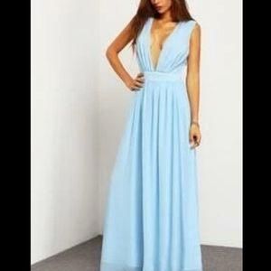 Shein elegant powder blue bsckless gown
